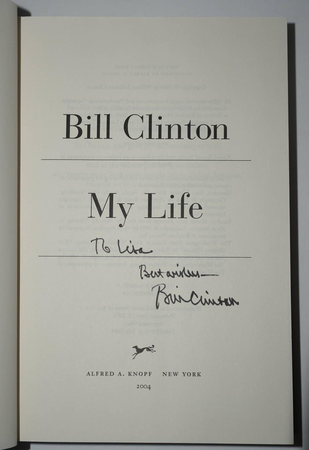 """Bill Clinton Signed Book, """"My Life"""""""