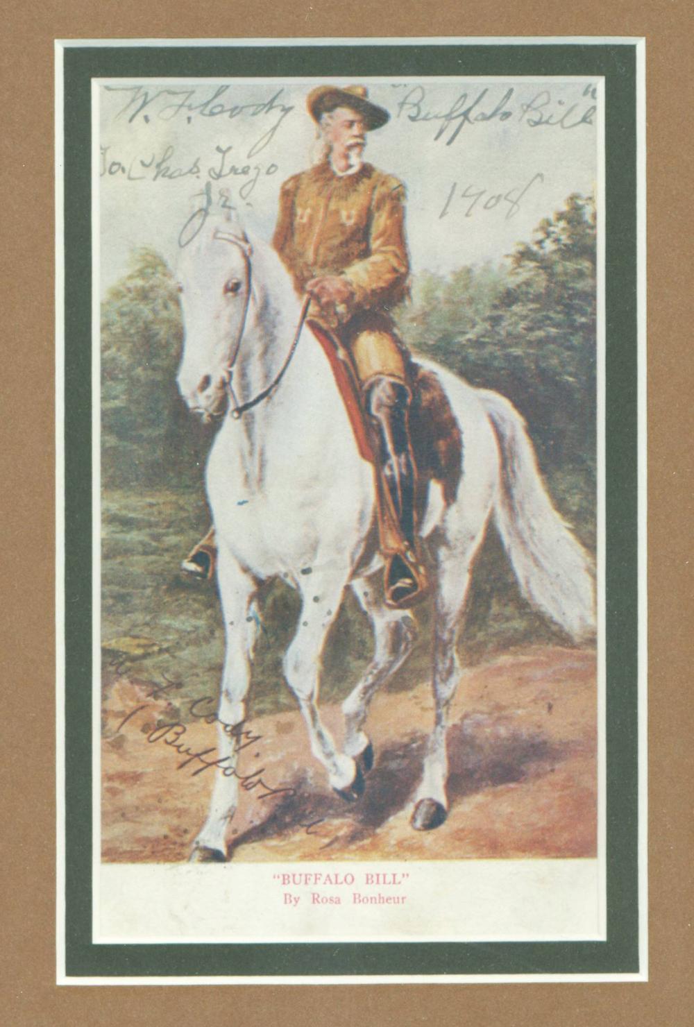 W.F. Cody / Buffalo Bill Dual Signed Vintage Postcard, Superb Presentation