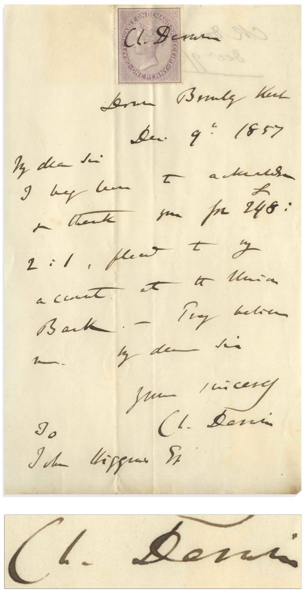 Charles Darwin Autograph Letter Signed 1857