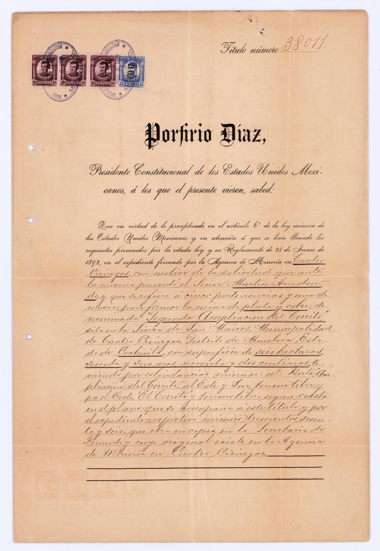 Porfirio Diaz Signed Mining Concession
