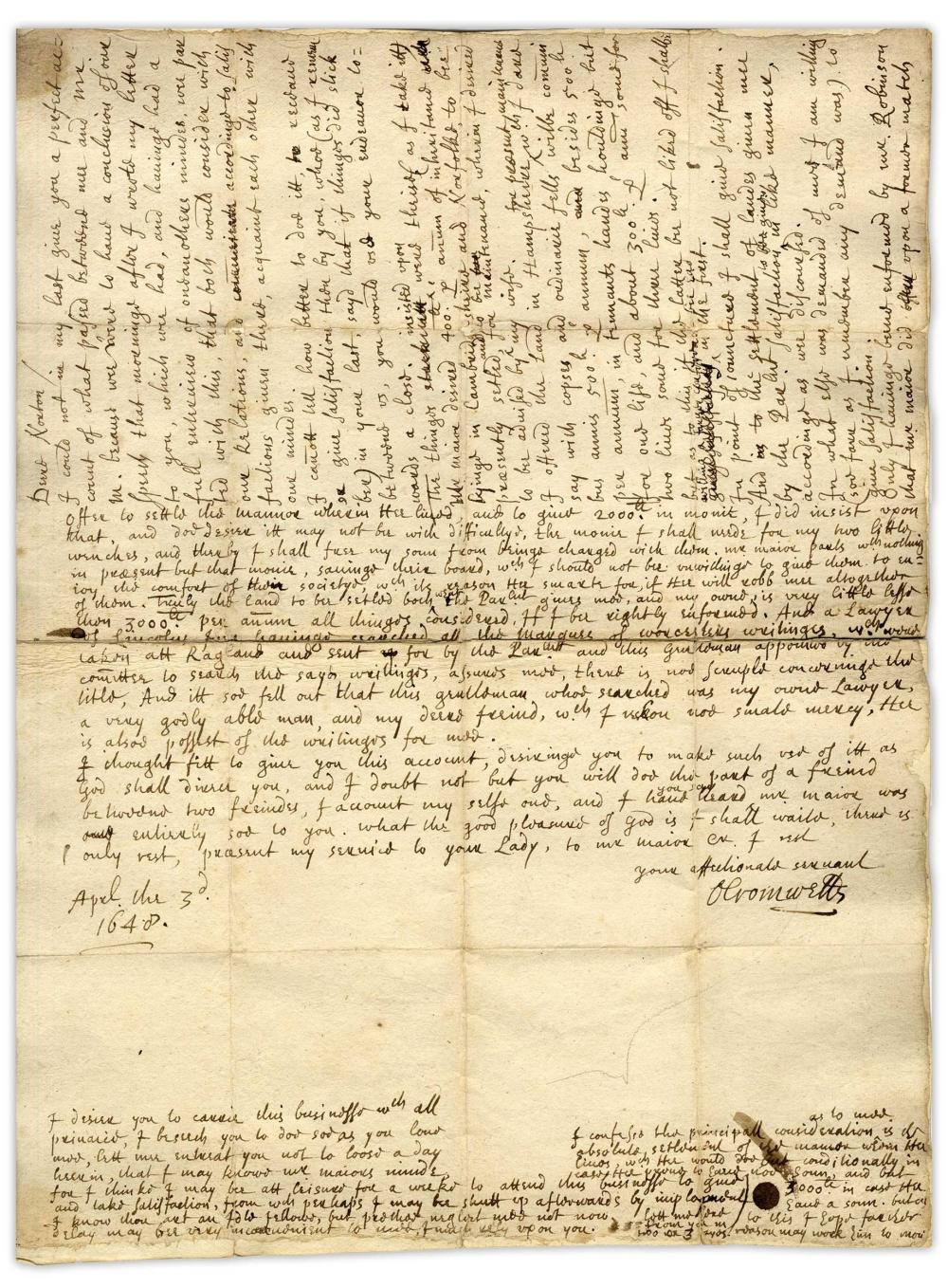 Oliver Cromwell Important ALS from 1648 Regarding His Son's Matrimony, ''Mr. Maijor desired 400l. per annum of inheritance ... wherein I desired to be advised by my wife''