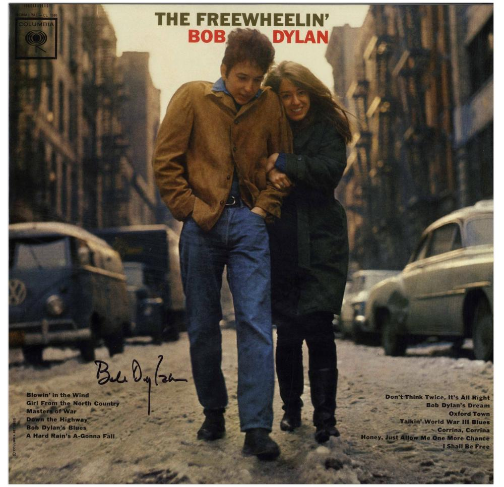 "Bob Dylan Signed Album ""The Freewheelin' Bob Dylan"" with Jeff Rosen COA"