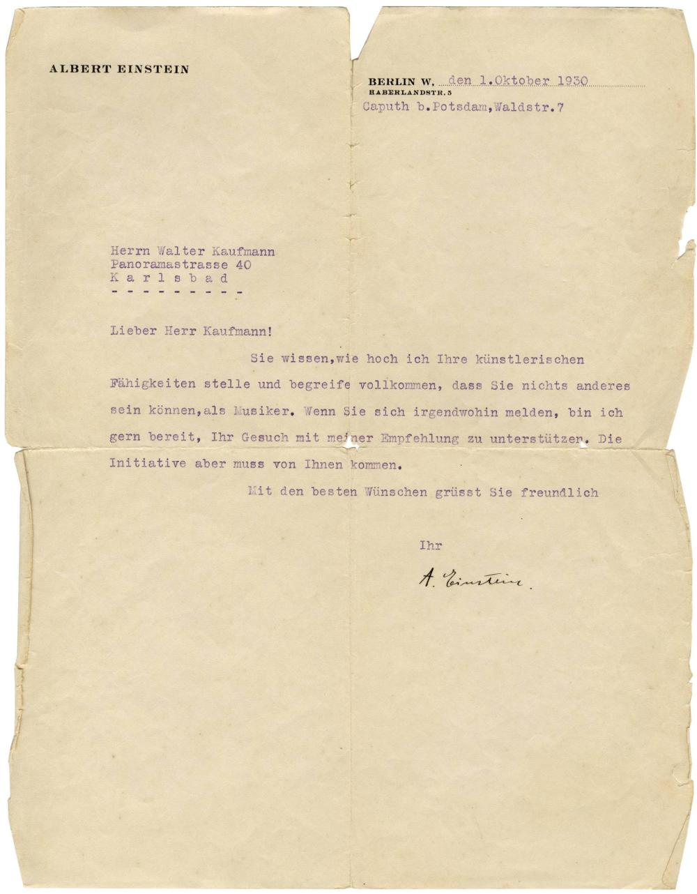 Albert Einstein TLS to Composer Walter Kaufmann, ''You know how highly I esteem your artistic competencies''