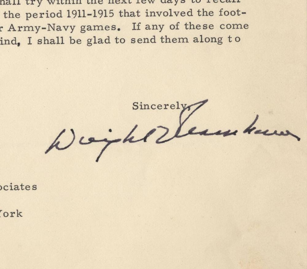 Eisenhower Re: Offering His Records from His Cadet Days For Publication. Ex Forbes