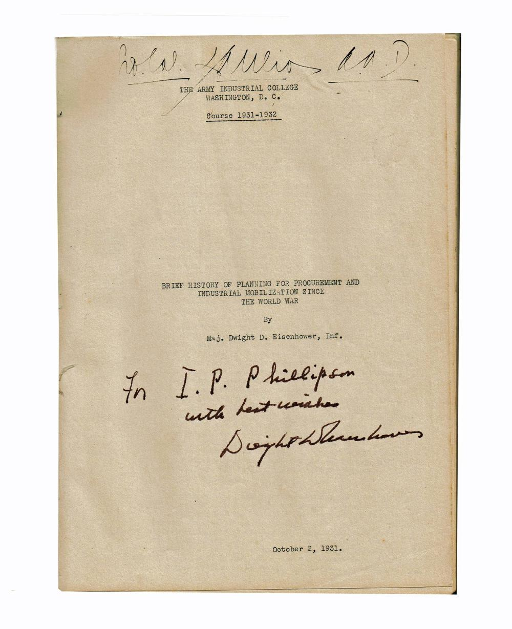 Eisenhower Signed Presentation Copy Planning for Industrial Mobilization Since the World War, Ex-Forbes