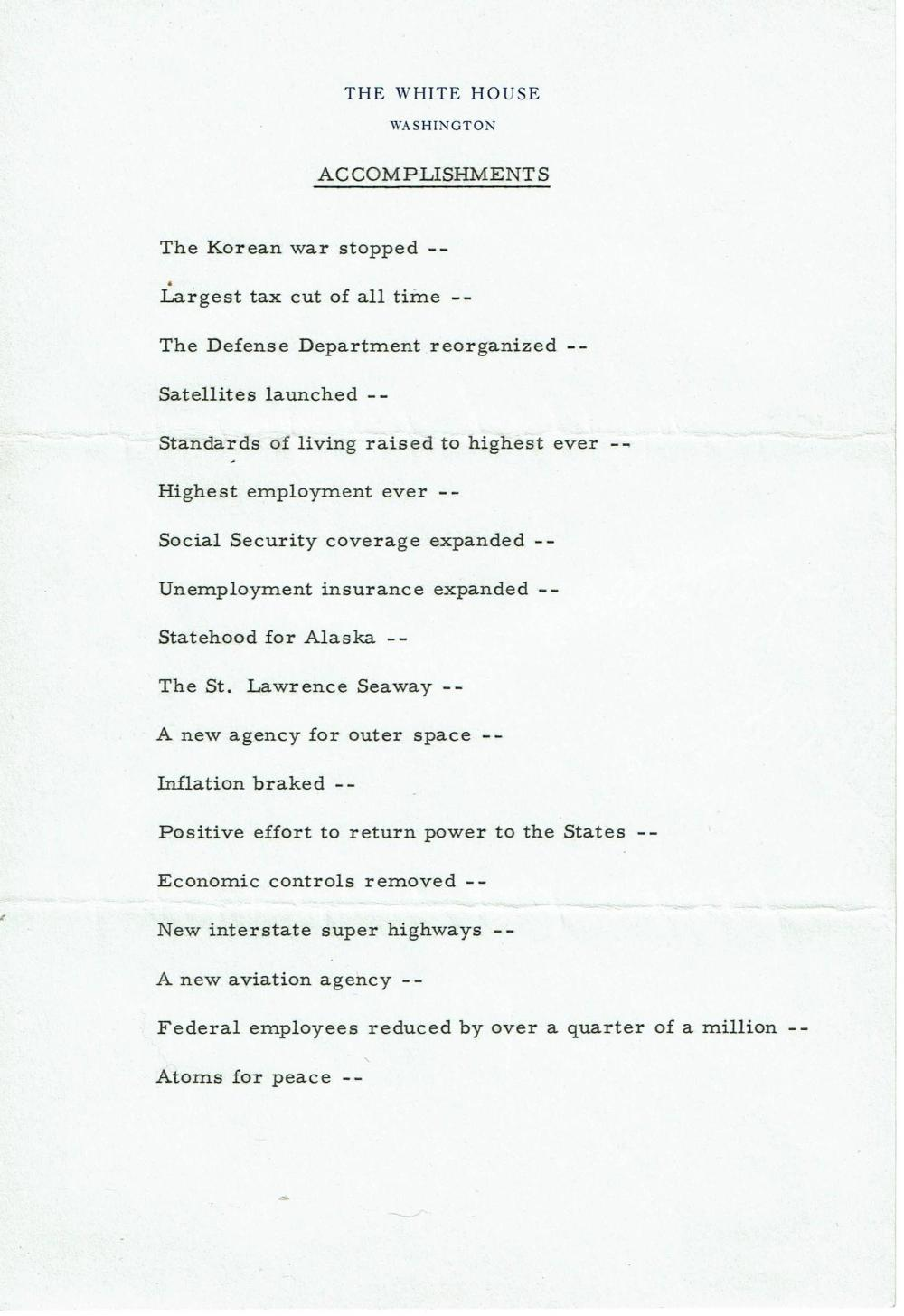 Eisenhower as President Fantastic 4 Page Letter on his Record, Ex-Forbes