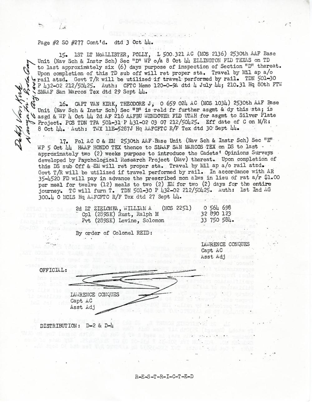 """Enola Gay Navigator Dutch Van Kirk Assigned to """"Silver Plate Project"""""""