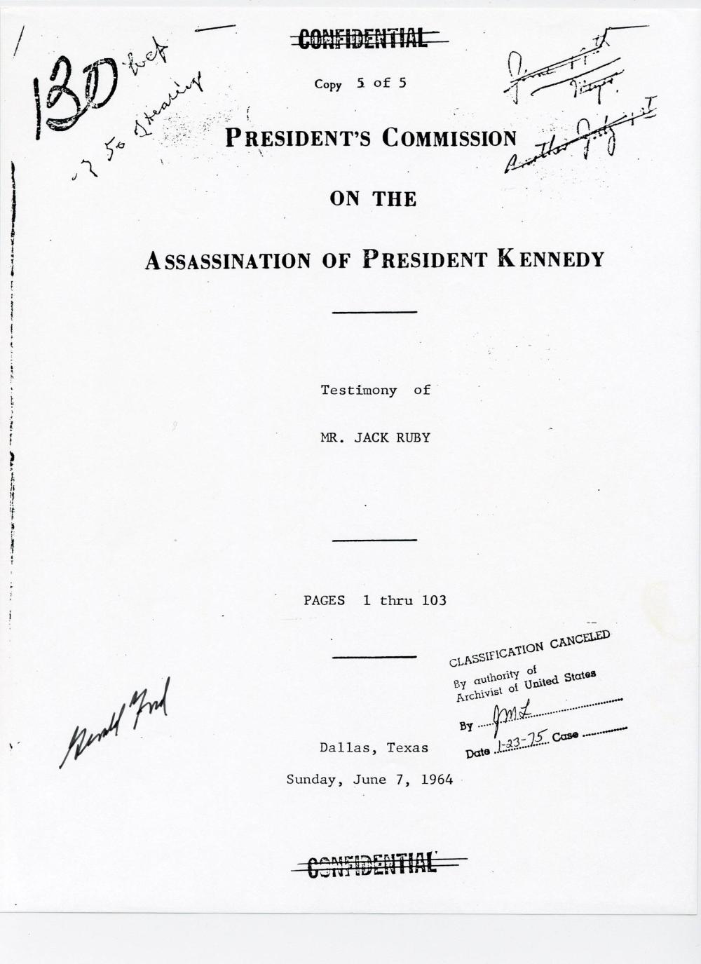 JFK Assassination G. Ford Signed Copy of 100+ Pages Ruby's Testimony, Ex-Forbes