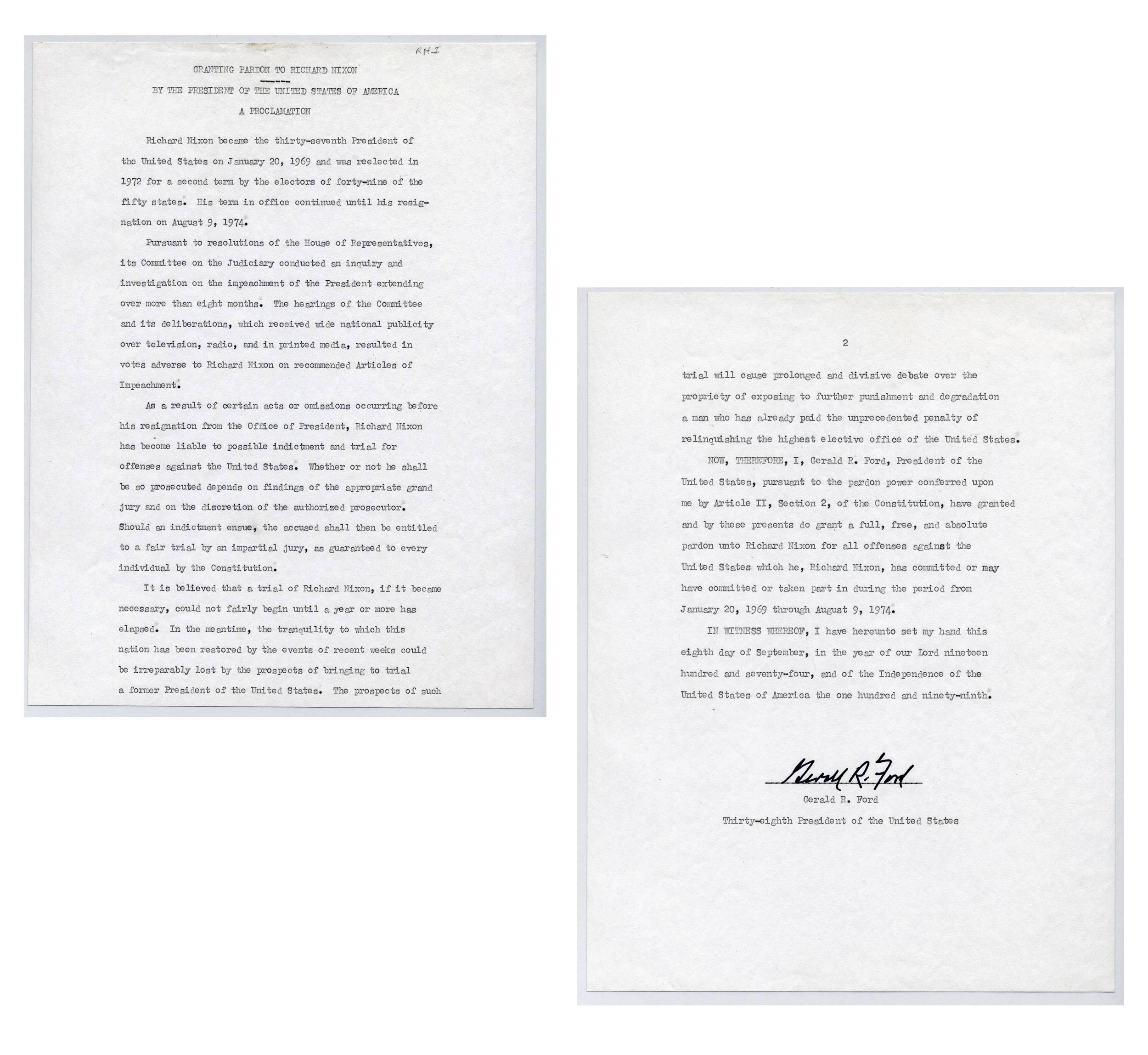 G. Ford Signed Transcript of Nixon Pardon, Ex-Forbes