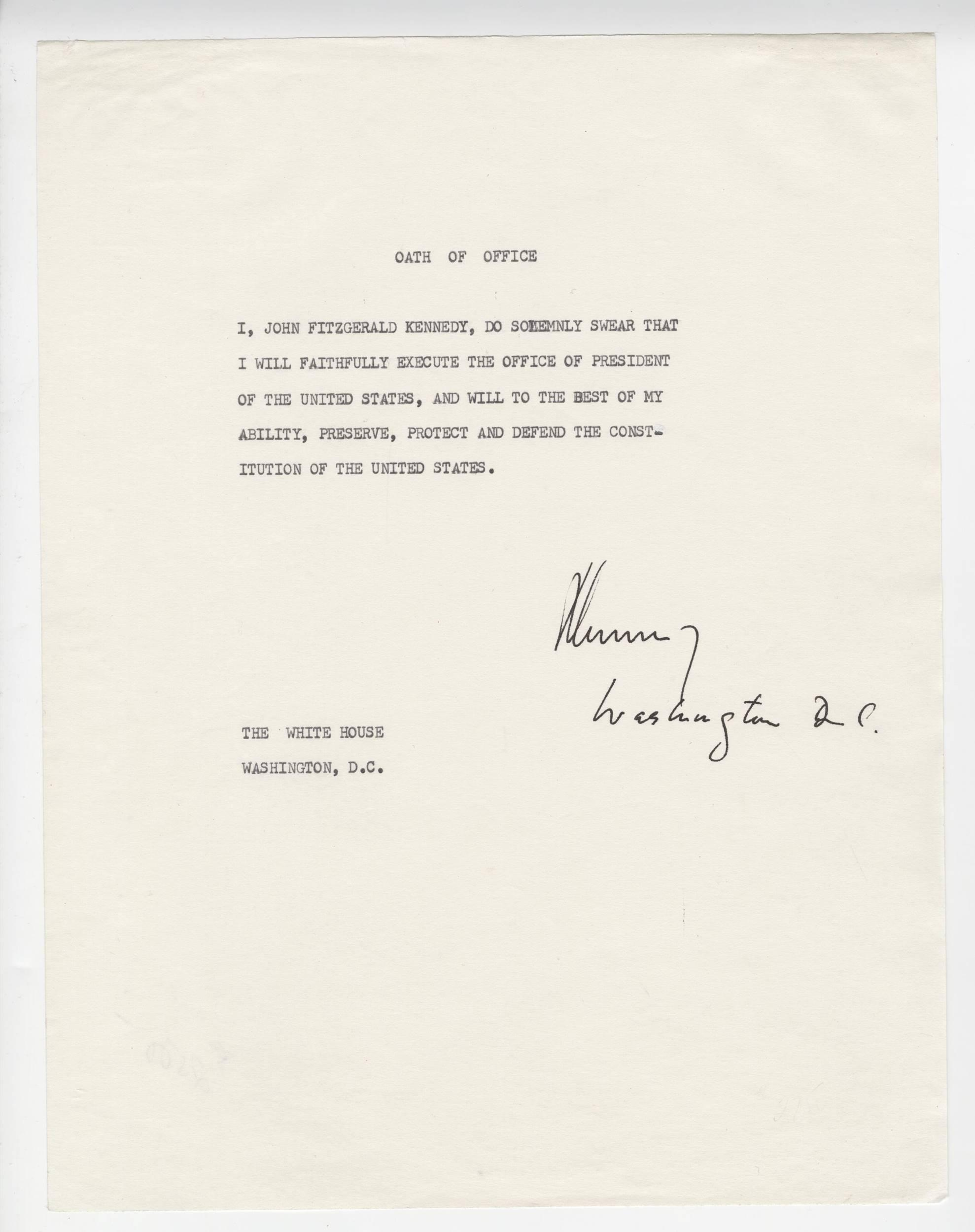 John Kennedy Signed Oath Of Office, Unique! Ex. Forbes