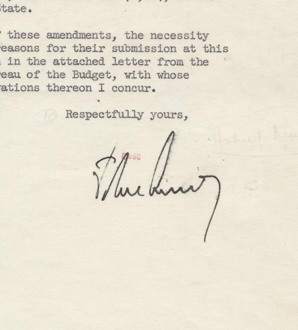 John Kennedy Signed Budget Proposal for Heath, Education and Welfare. Ex. Forbes