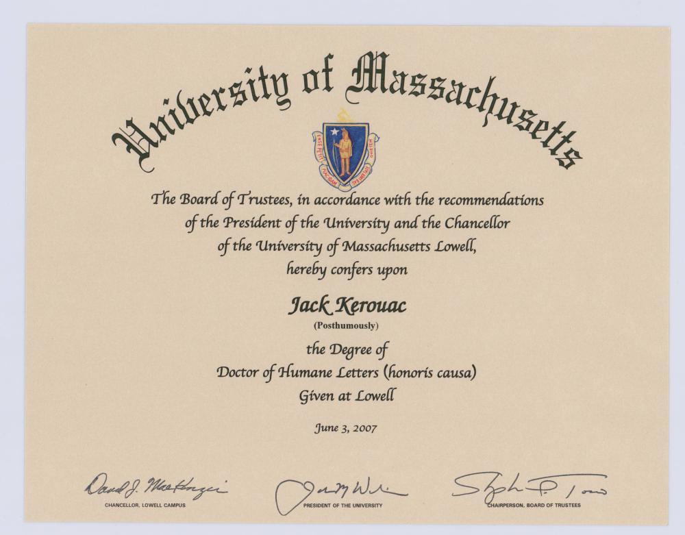 Kerouac UMASS Honorary Doctorate