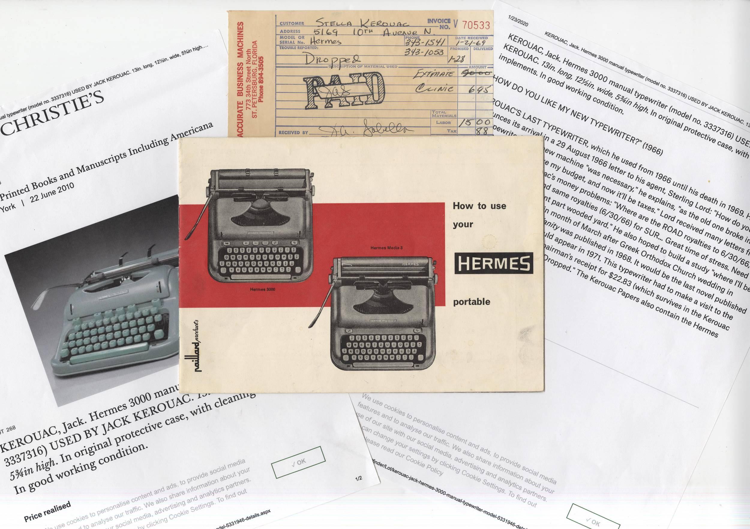 "Jack Kerouac's Famous Hermes Typewriter Manual, Used to Write ""Vanity of Duluoz"""