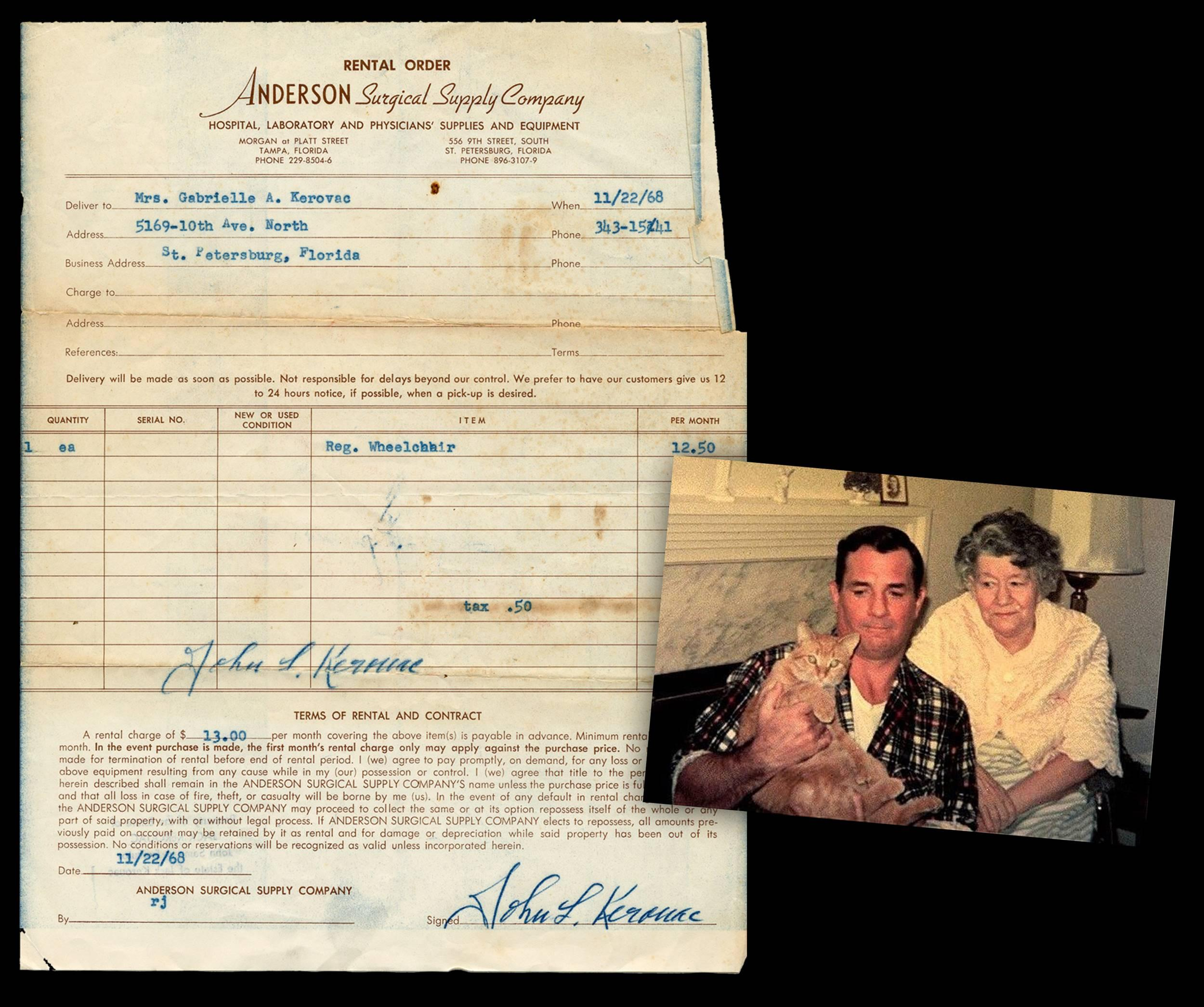 Jack Kerouac's Signed Receipt for Mother's Wheelchair, from his Estate