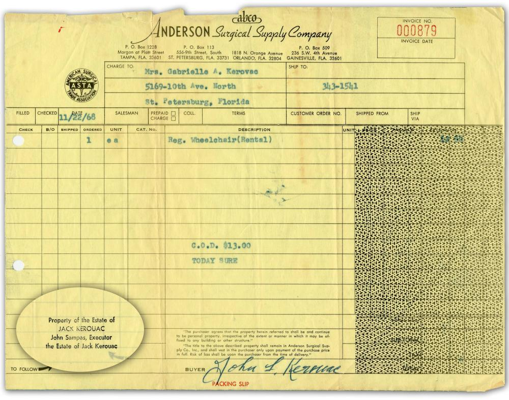 Jack Kerouac's Signed Receipt for Mom's Wheelchair, Estate-Certified