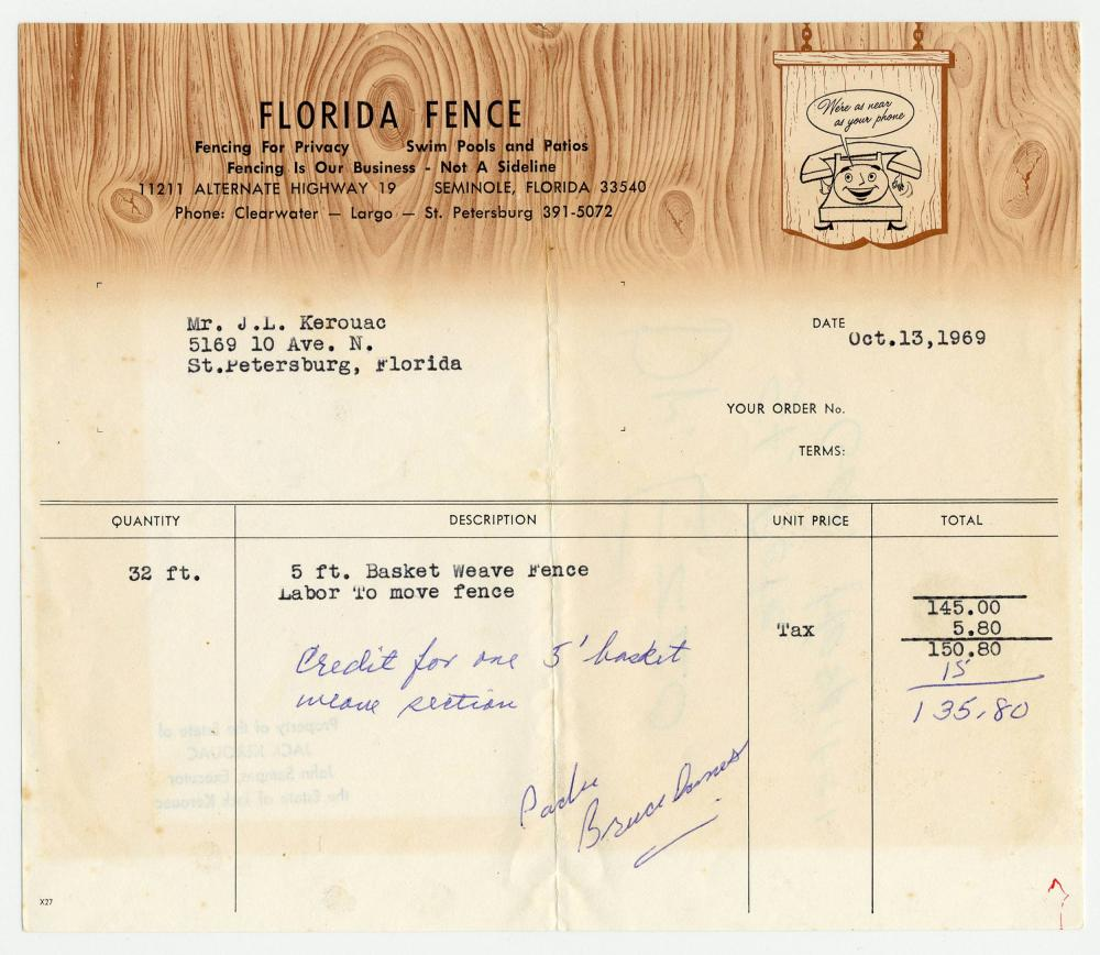 Jack Kerouac, 2 Receipts Relating to his St. Petersburg, Florida Home, From his Estate