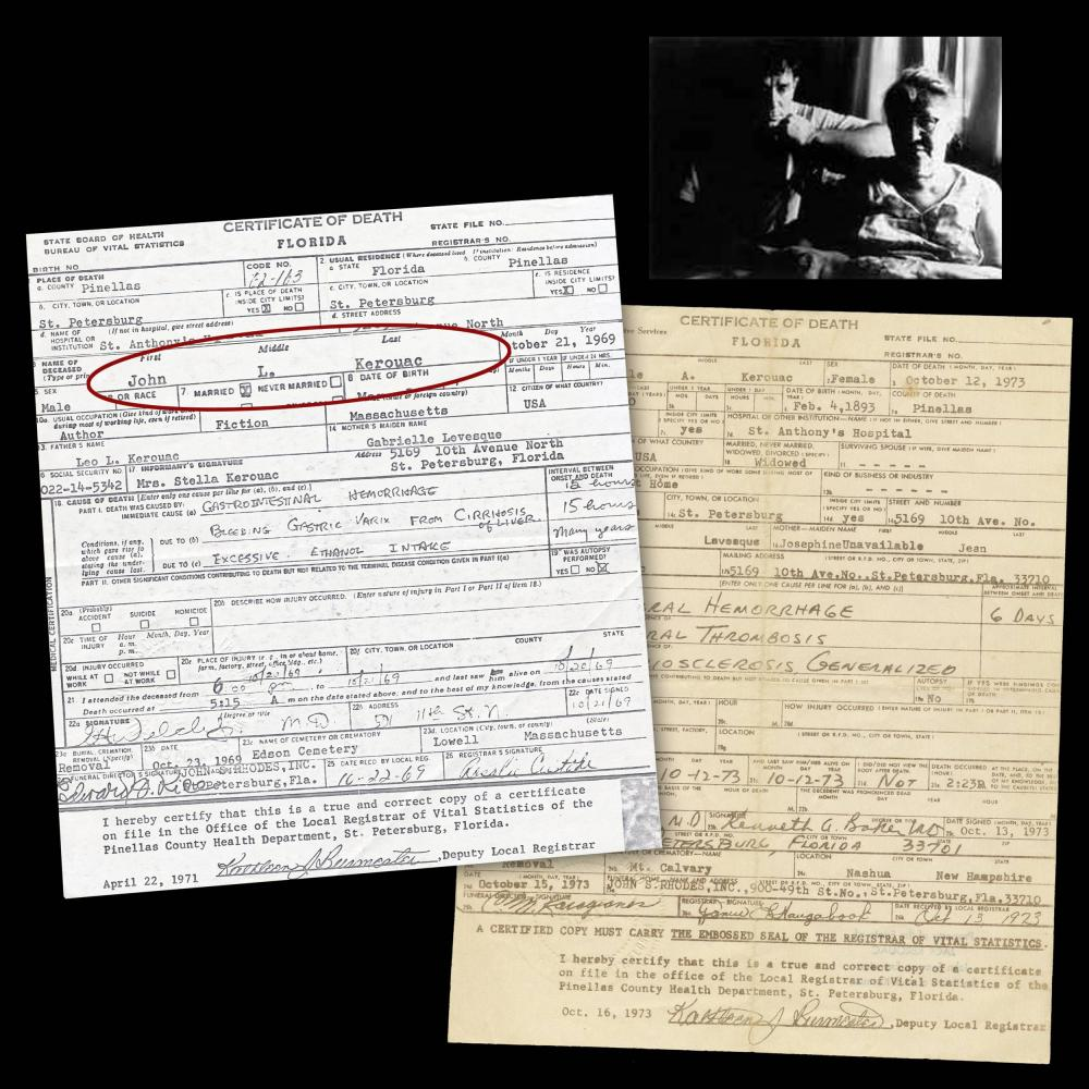 Jack Kerouac's Embossed Official Death Certificate, Estate Owned