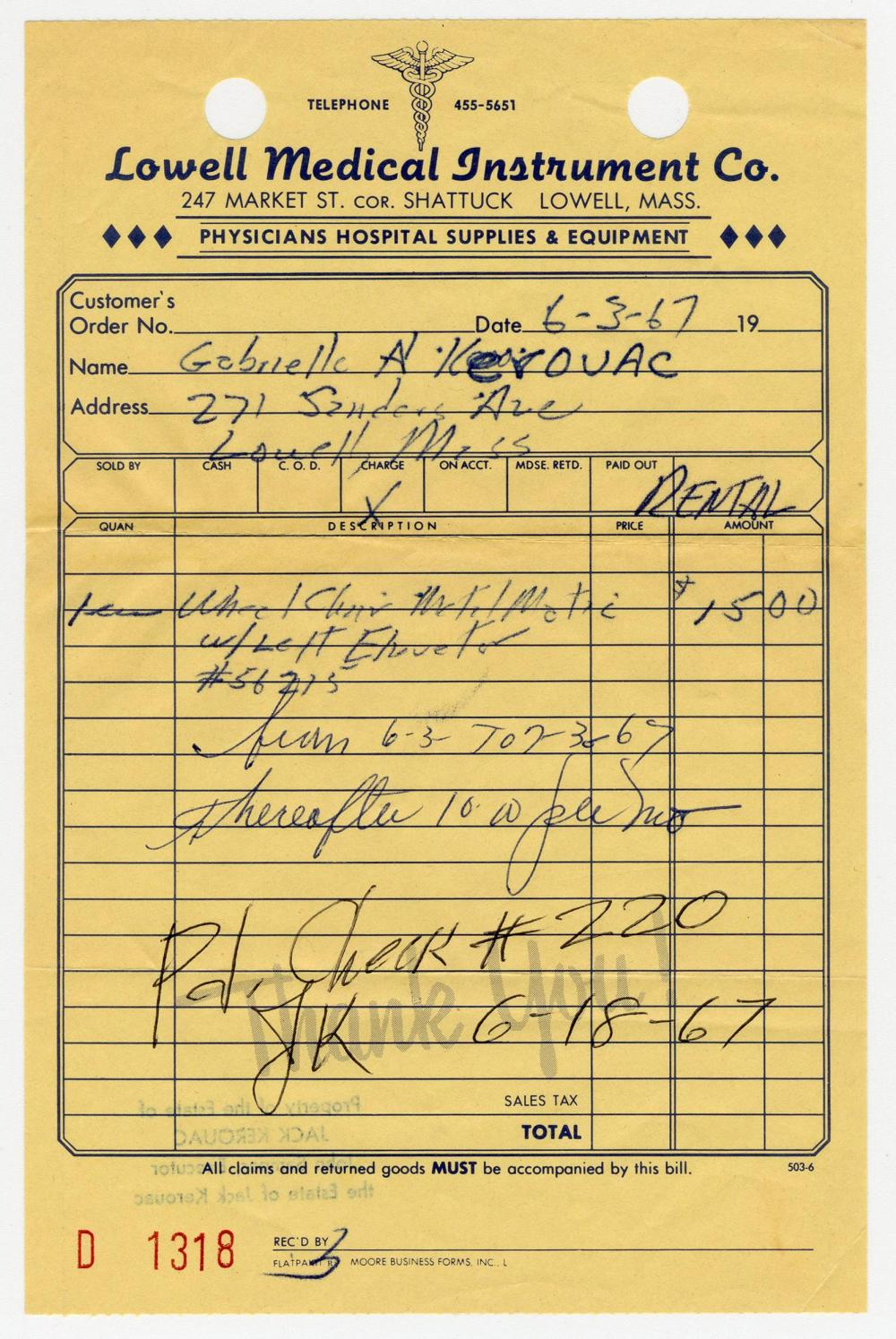 Jack Kerouac's Signed Receipt for Mother's Wheelchair Rental, Retrieved from his Last Home