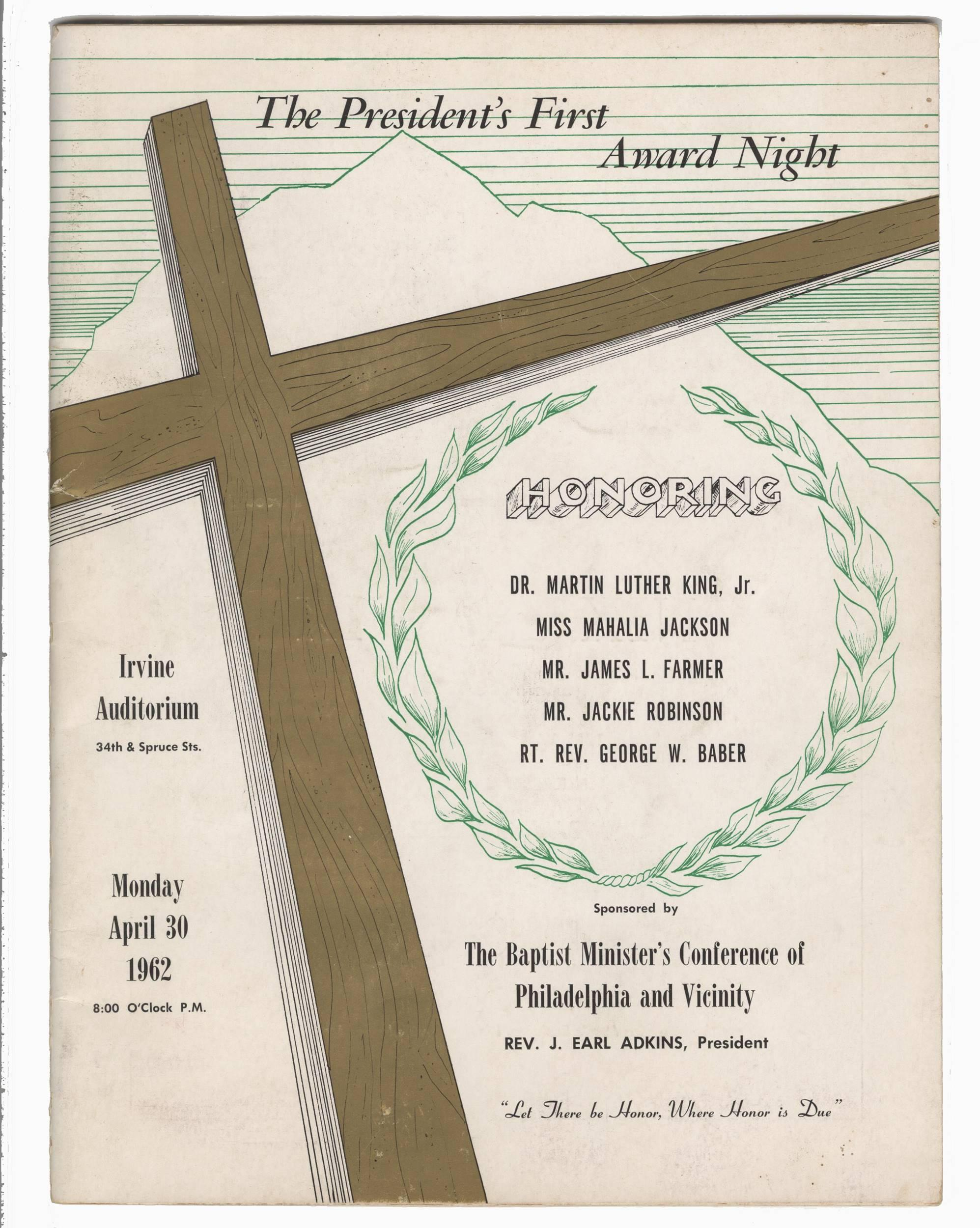 Rare 1962 Program Honoring Martin Luther King and Jackie Robinson