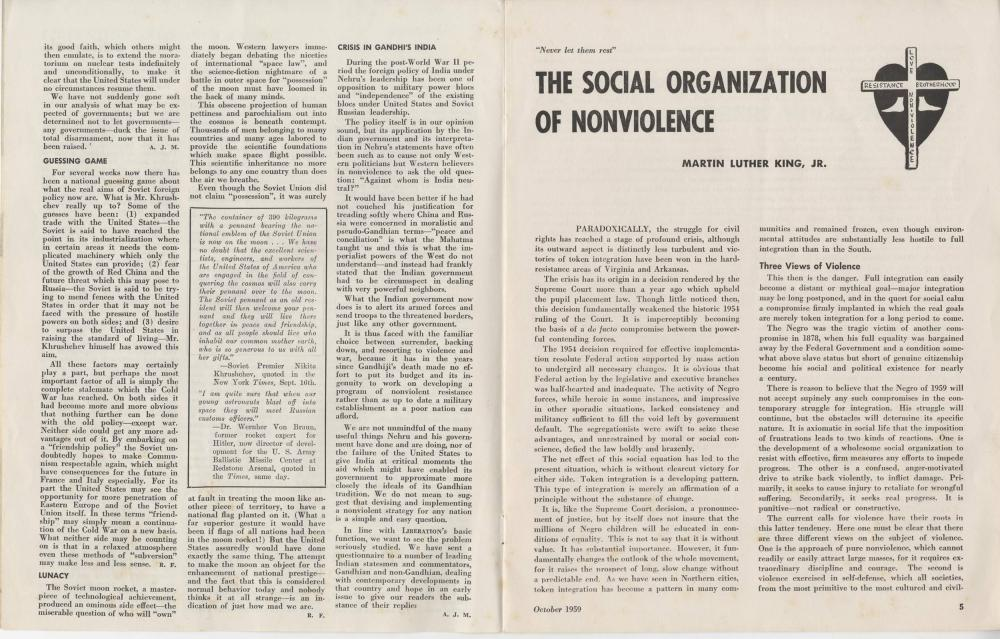 ML King, Rare Publication, Includes His Article