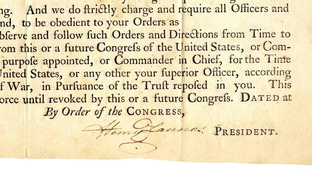 Henry Laurens DS as President of the Continental Congress