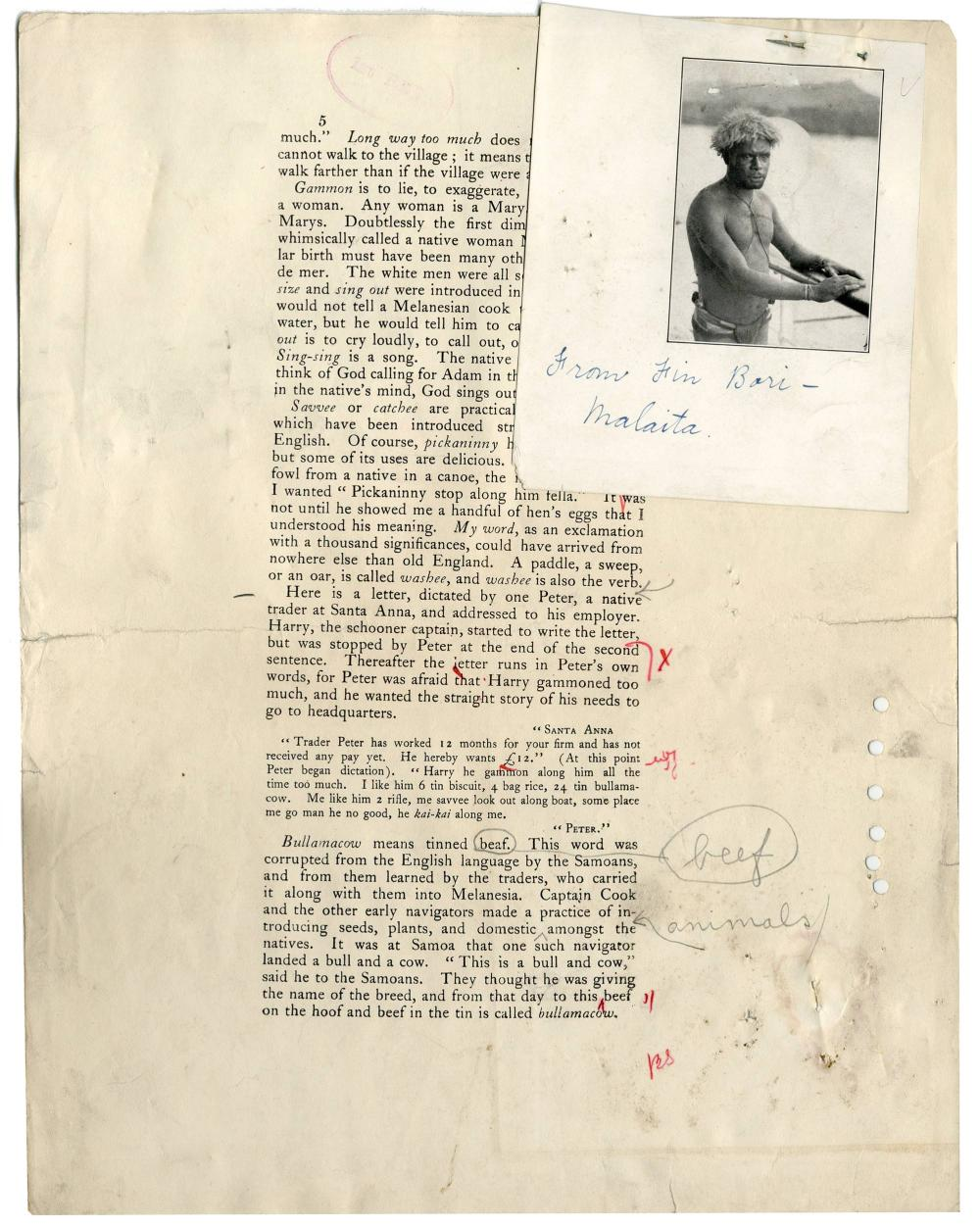 """Jack London, """"The Cruise of the Snark"""" Annotated Manuscript and Signed Check"""