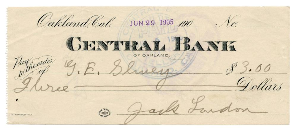 """Jack London, Dentist! """"The Cruise of the Snark"""" Annotated Manuscript and Signed Check"""