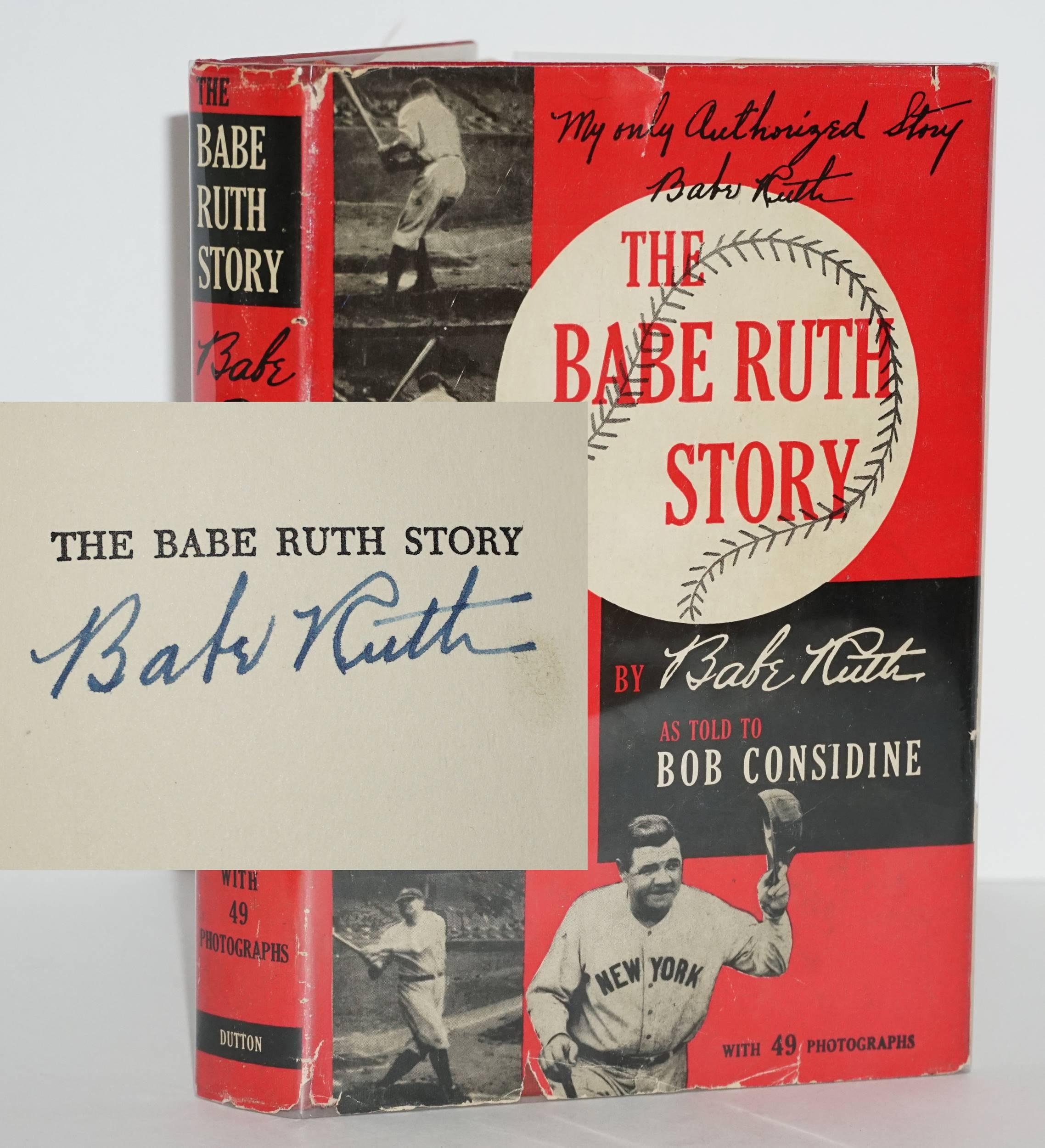 "Babe Ruth SIGNED, ""The Babe Ruth Story"", 1st/1st Printing in Vibrant Unfaded Jacket"