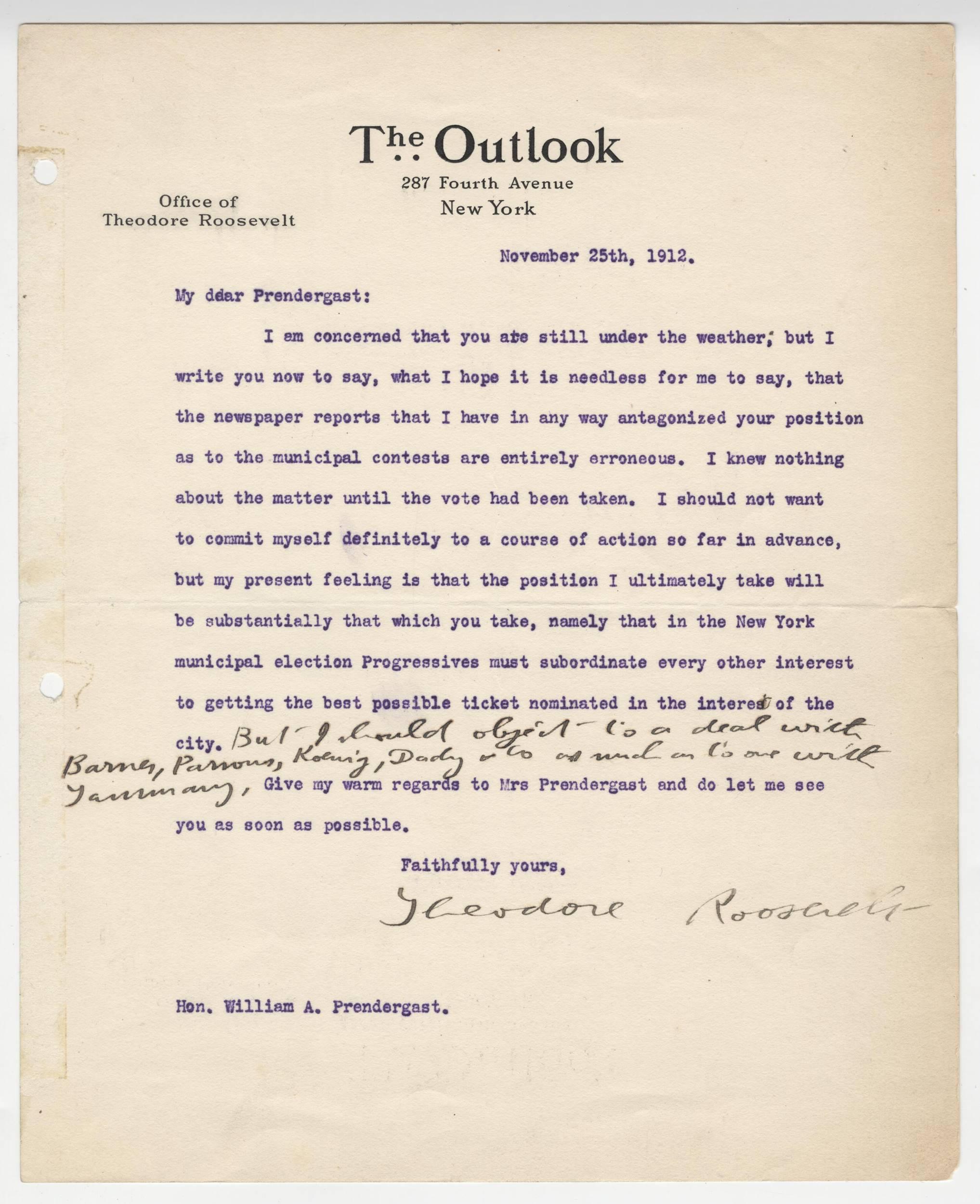 Theodore Roosevelt Superb Letter on Progressives W. Long Postscript. Ex Forbes