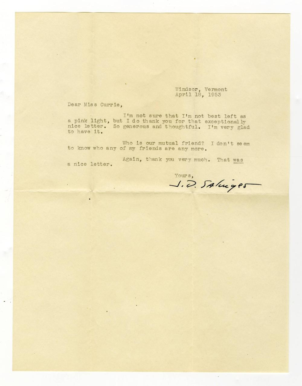 J. D. Salinger, 3 Great Items with Writing Content, One Signed in Full