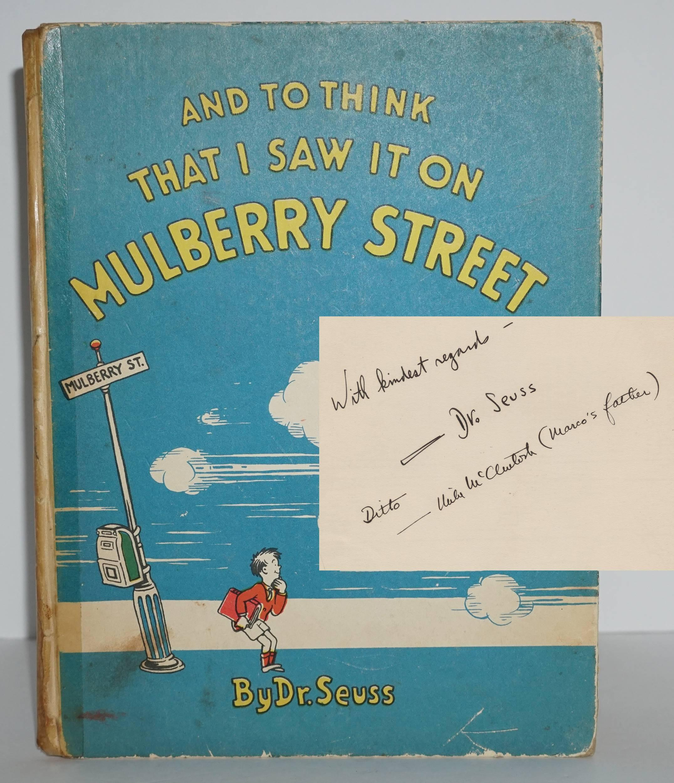"""Dr. Seuss Signed and Inscribed, 1st/1st Ed. """"And to Think That I Saw It on Mulberry Street"""""""