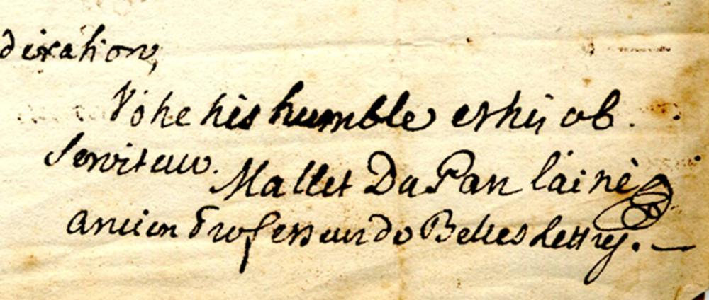 Jacques Mallet du Pan, Voltaire's friend, ALS to Swiss editor of Voltaire's works
