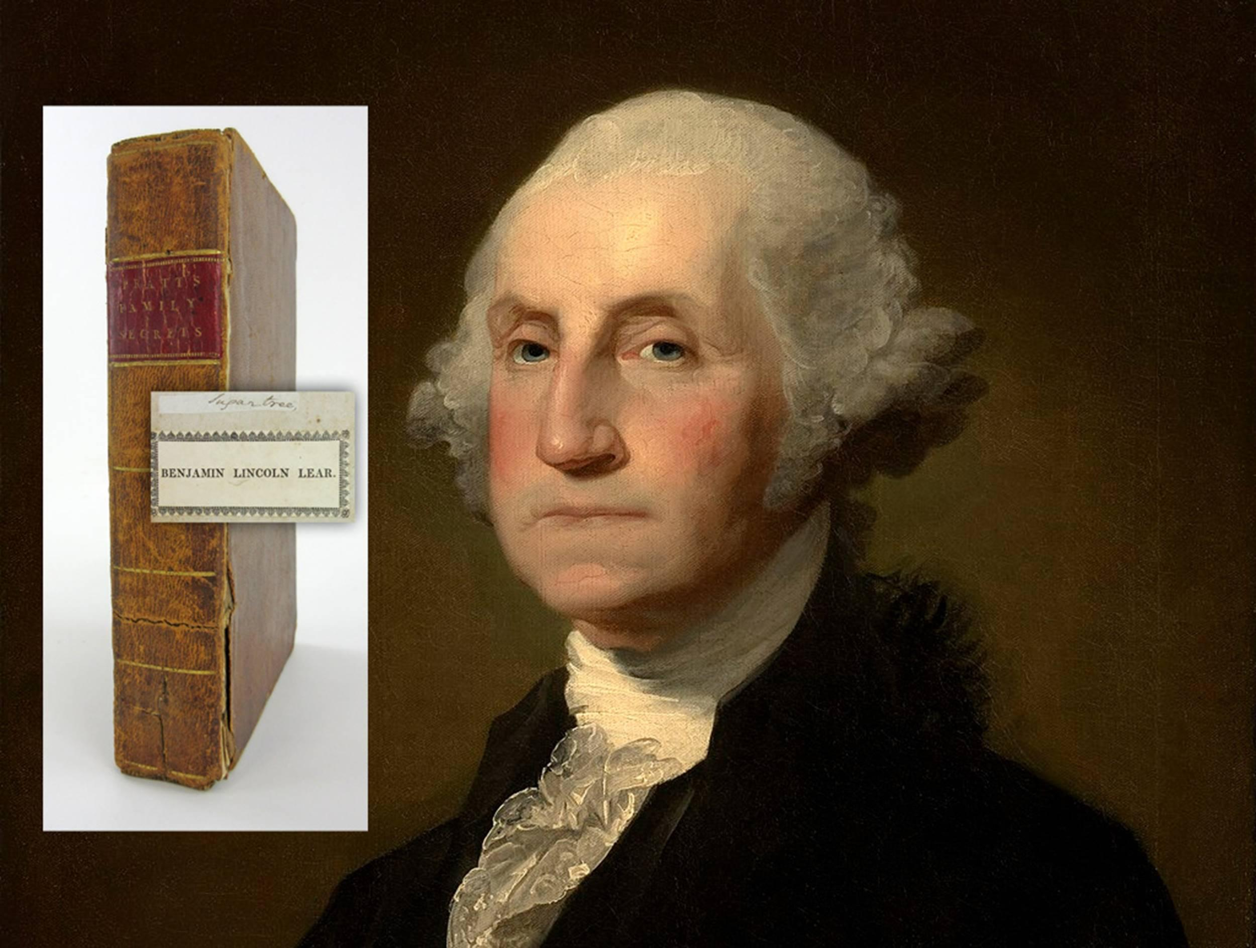 Volume V from the Library of George Washington, with words written by Washington tipped into the book