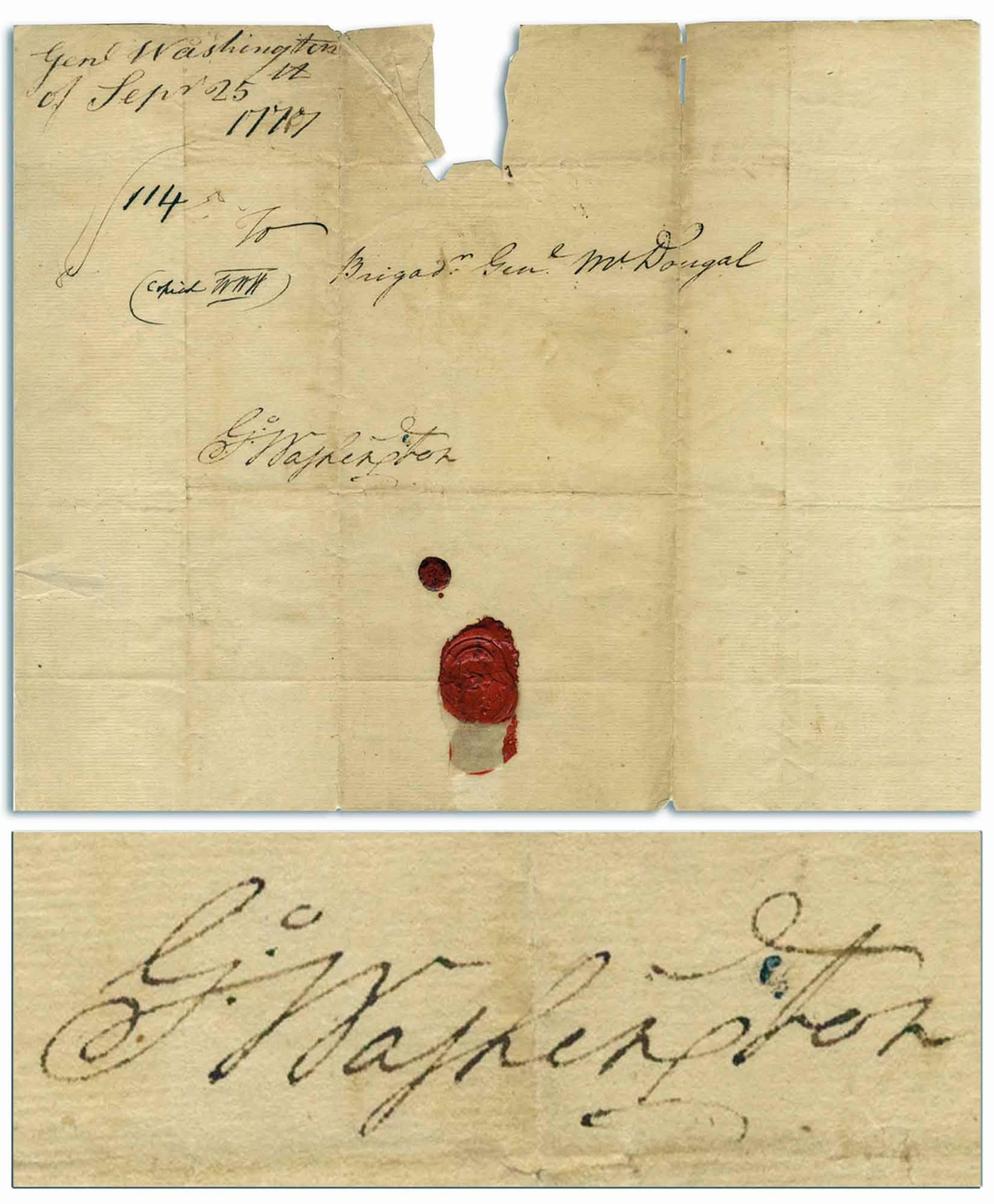 George Washington Franking Signature During the Revolutionary War -- From 25 September 1777 Just One Day Before the British Captured Philadelphia