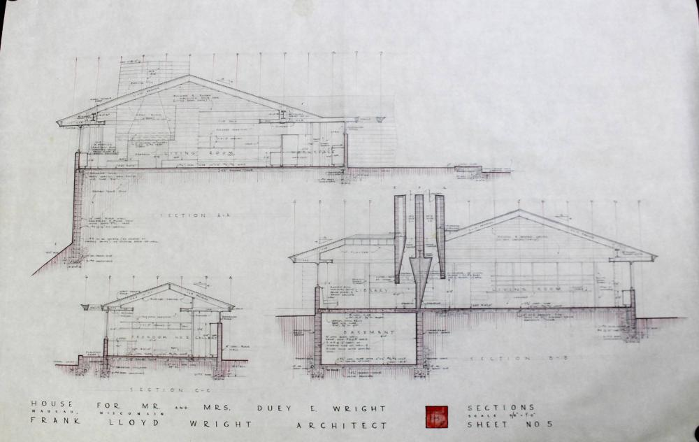 Frank Lloyd Wright Signed Huge Architectural Plans for His Last Usonian House