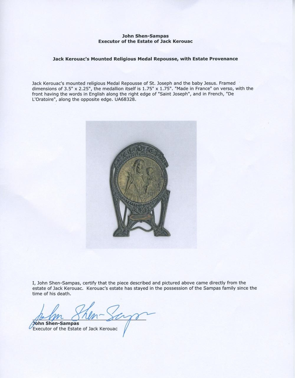 Jack Kerouac's Mounted Religious Medal Repousse, with Estate Provenance
