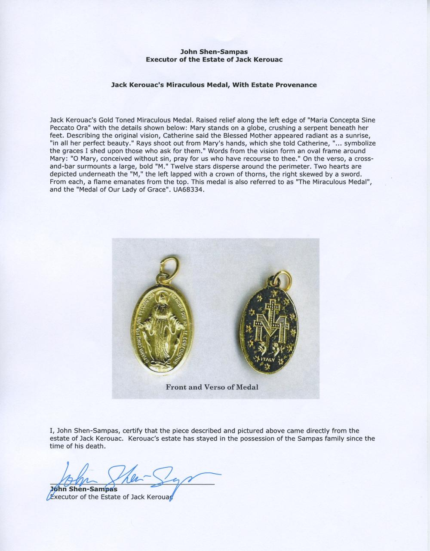 Jack Kerouac's Miraculous Medal, with Estate Provenance