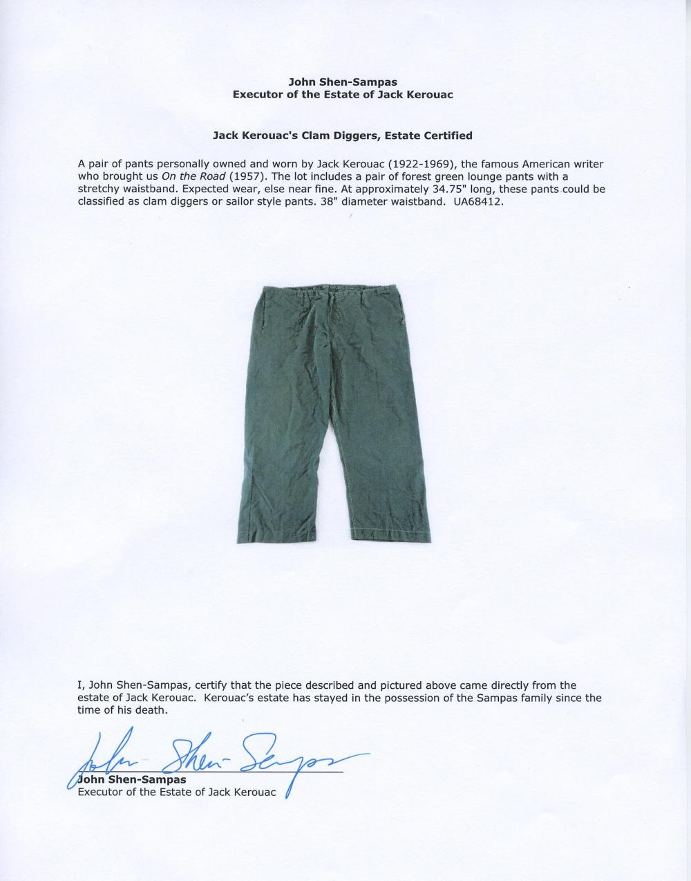 Jack Kerouac's Clam Diggers, Estate-Certified