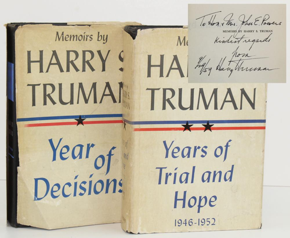 Harry Truman Signed Memoirs, Two Volumes