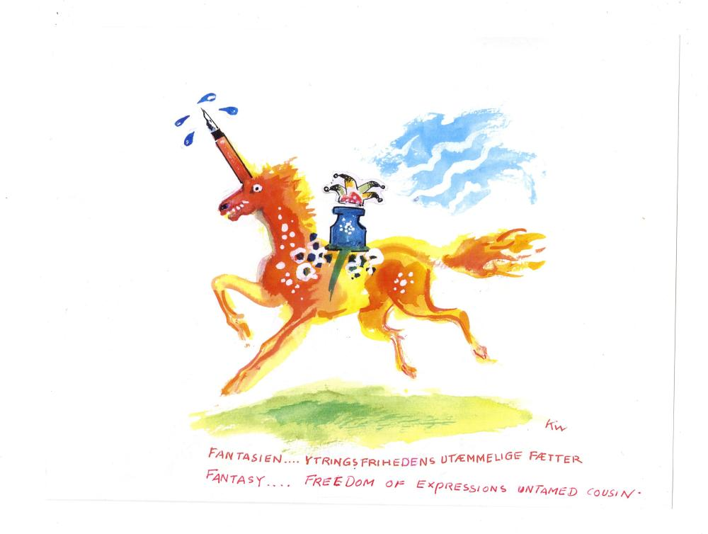Kurt Westergaard Signed Unicorn and Inkwell Watercolor with ALS on Verso