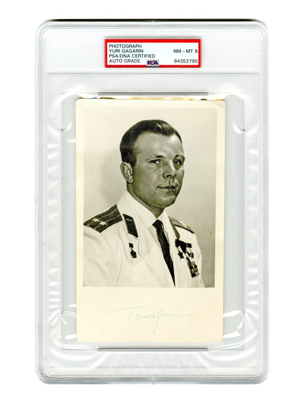 Yuri Gagarin Signed Photograph, PSA/DNA Slabbed & Graded NM-MT 8