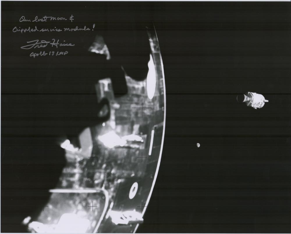 Fred Haise Striking Large Signed Photo of Damaged Service Module