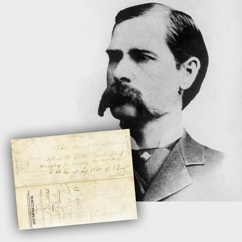 Wyatt Earp Endorsement Signed, Over 20 Words in His Hand; the 21-Year-Old Serves a Summons in Missouri!