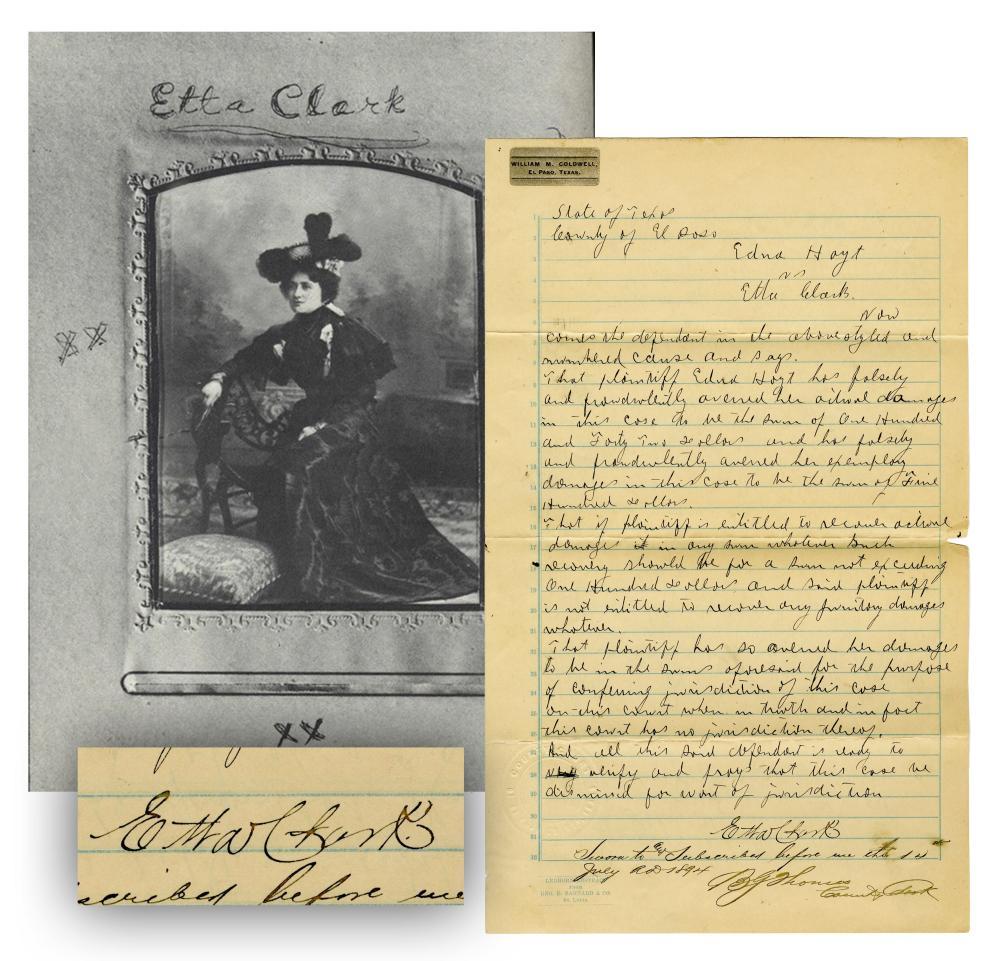 Etta Clark, Texas Sex Worker & Madam, Signed Legal Statement-Very Rare