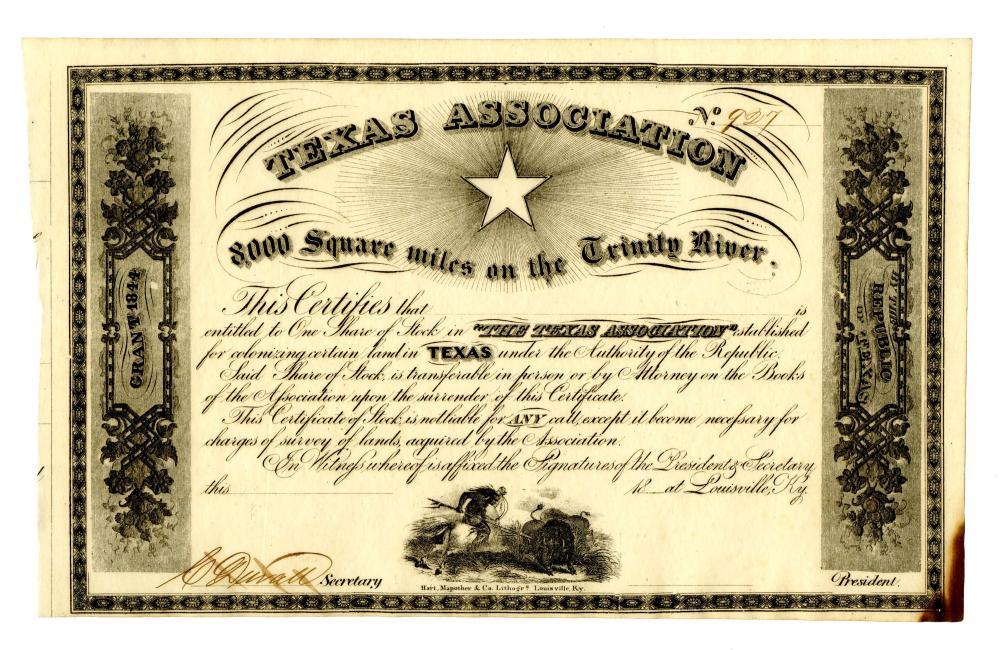 Texas Association Blank Stock Certificate Signed by Secretary Duvall, rare!