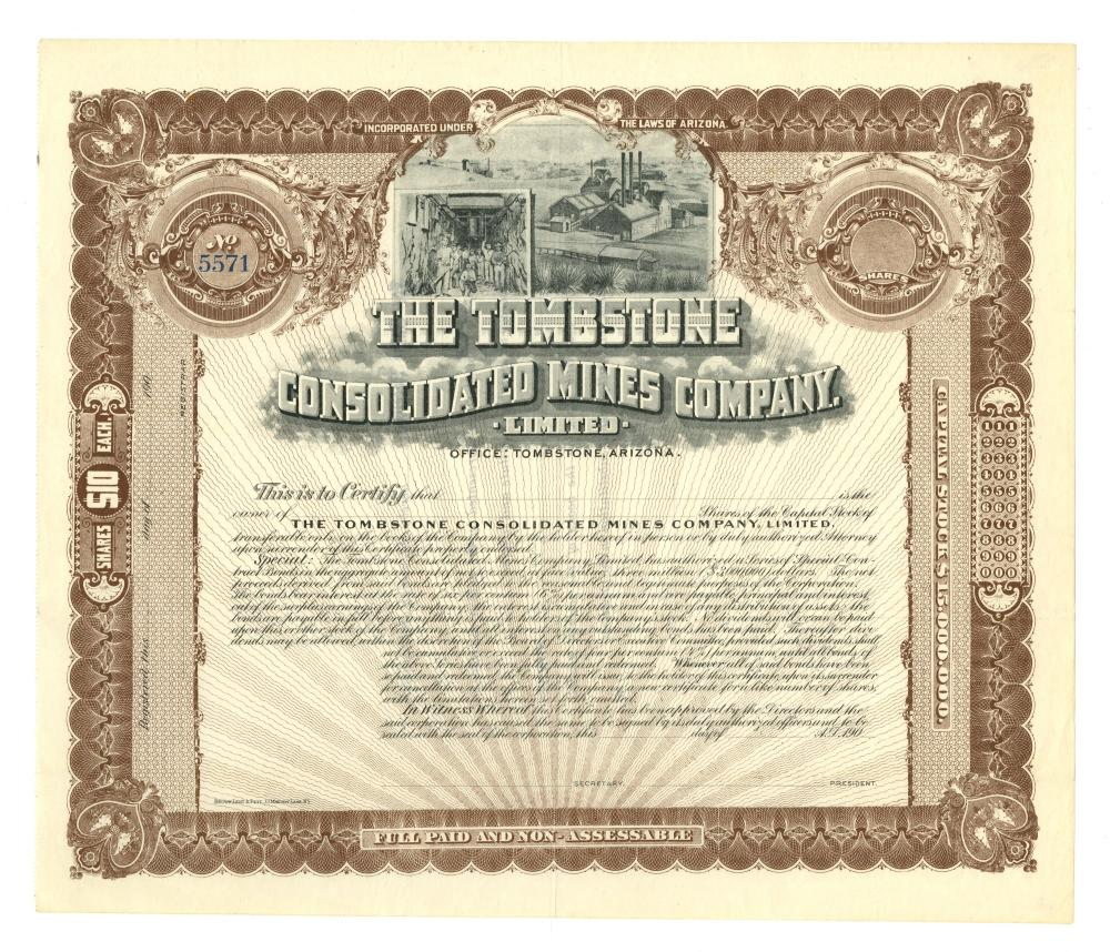 Tombstone Consolidated Mines Company Stock Certificated