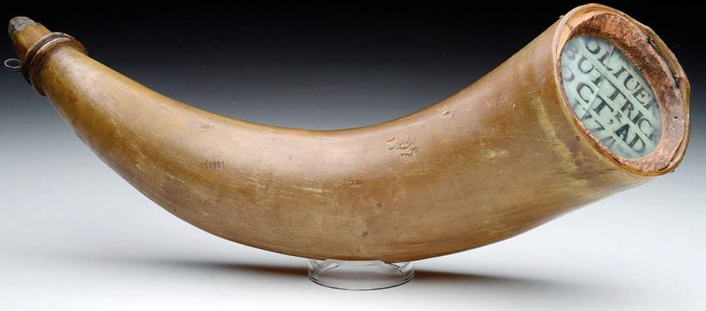 Extraordinarily Rare Revolutionary War Powder Horn Used At Battle of Concord, Used By Minute Man Oliver Buttrick