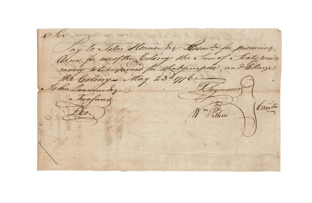 Rev. War Pay Order To Procure 30 Guns for the Use of the Colony