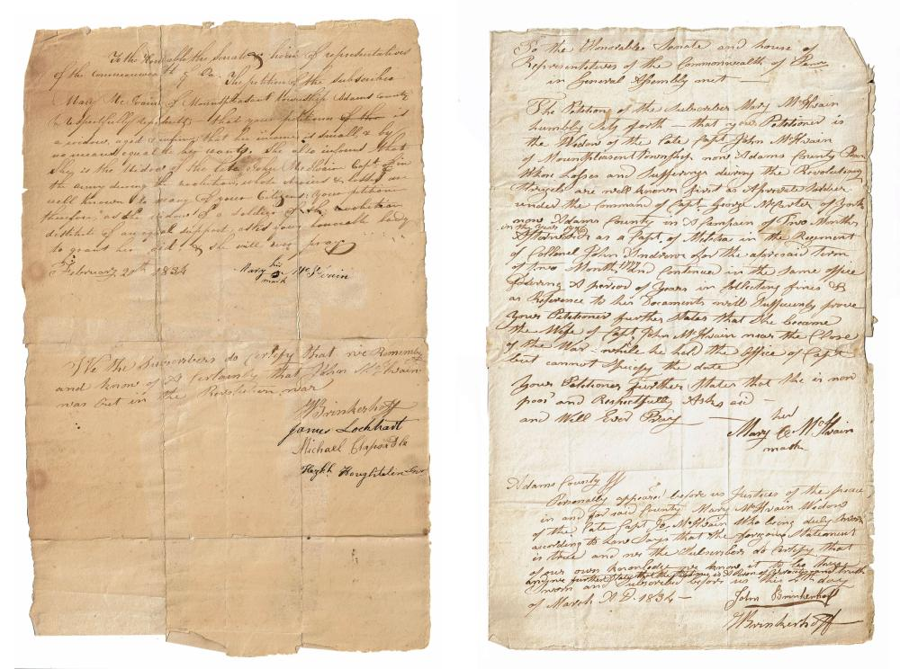 Rev. War Captain's Widow Petitions for Aid Twice 1834