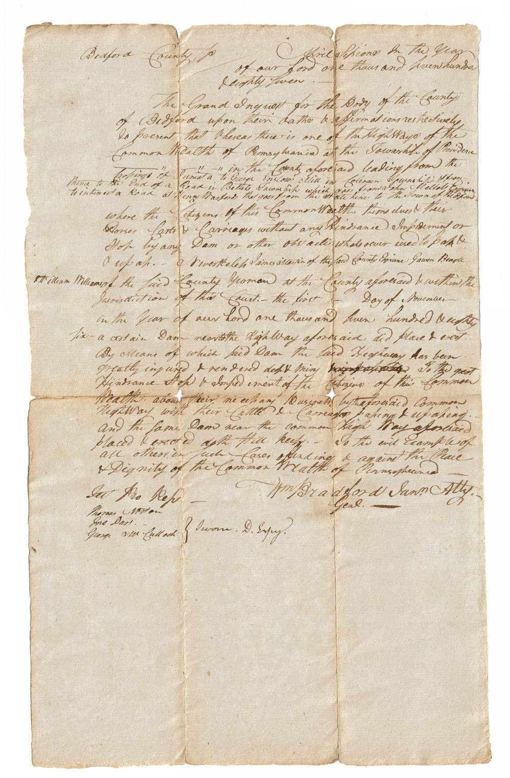 G. Washington's Atty Gen, Col. Wm. Bradford 1787 MDS